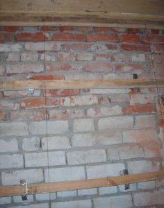 установка брусков на стену