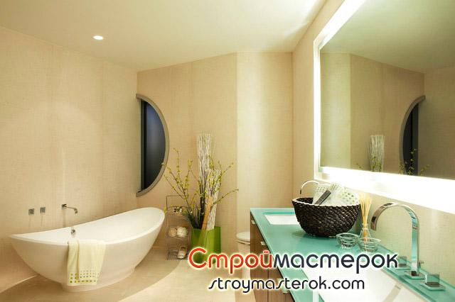 Стекляная столешница в ванной