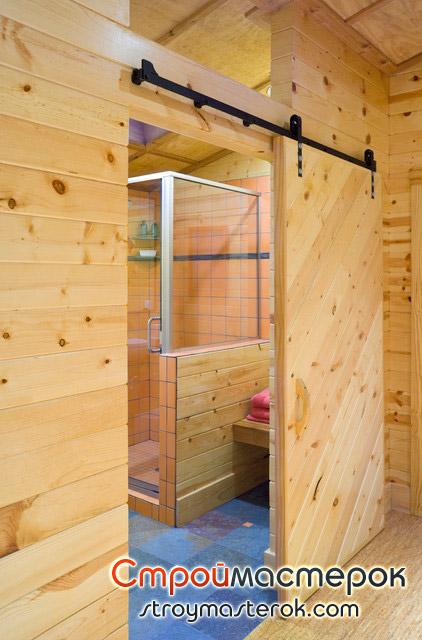 Раздвижная дверь в ванную комнату из дерева