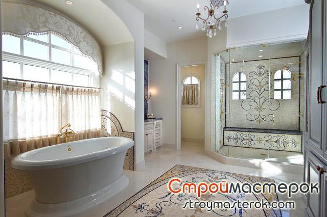Плитка мозаика панно в ванной комнате