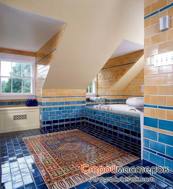 Напольное покрытие из мозаики в ванной комнате