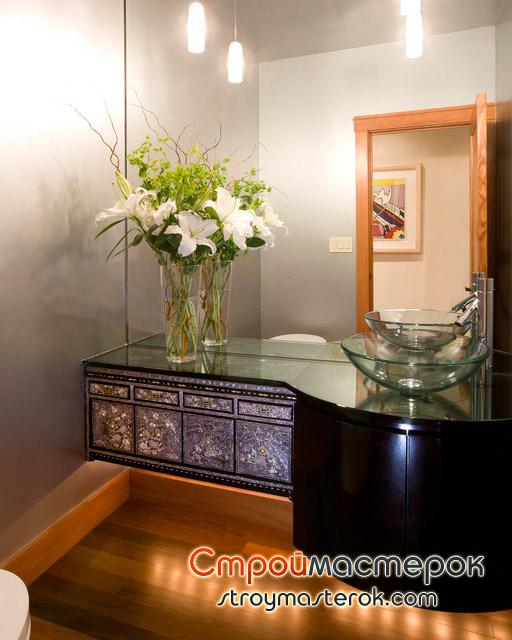 стеклянная раковина с тумбой для ванной
