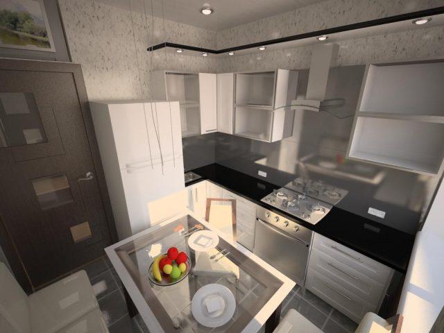 Дизайн кухни 8 кв. м с белыми фасадами
