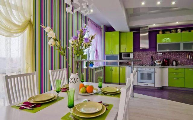 Данный проект кухни в фиолетовых тонах