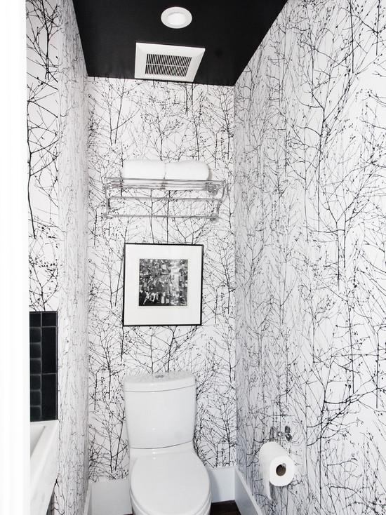 обои черно белые в ванной