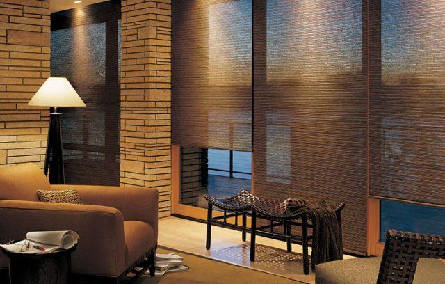 Деревянные рулонные шторы в интерьере