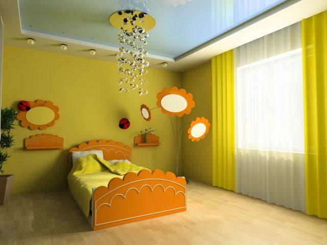 Каким сделать потолок в детской комнате