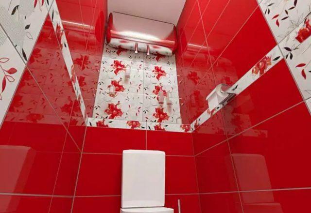 красно белый туалет
