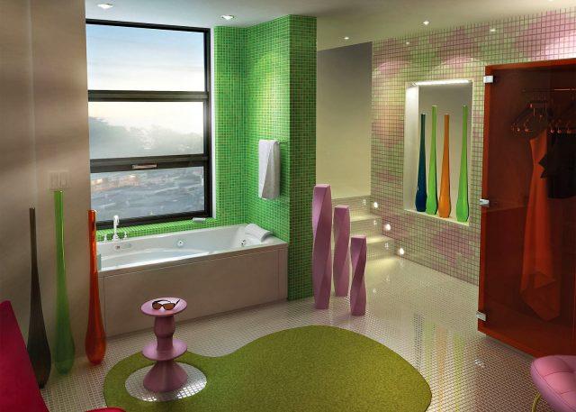Яркий цвет ванной комнаты