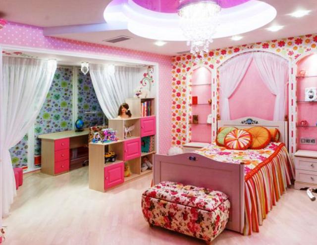 Зонирование детской комнаты для двух девочек