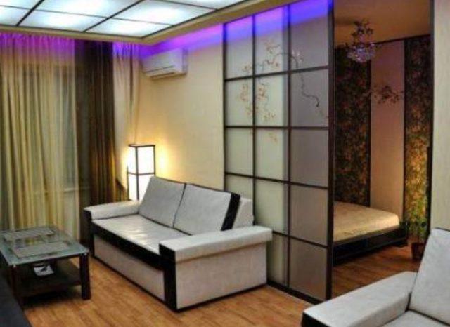 Разделение комнаты на две части перегородкой фото