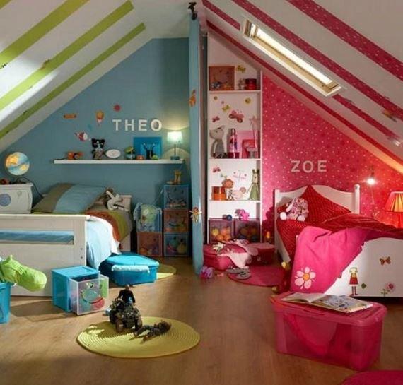 Разделение детской комнаты на две зоны