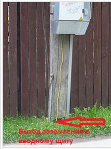 Выход кабеля к вводному щиту