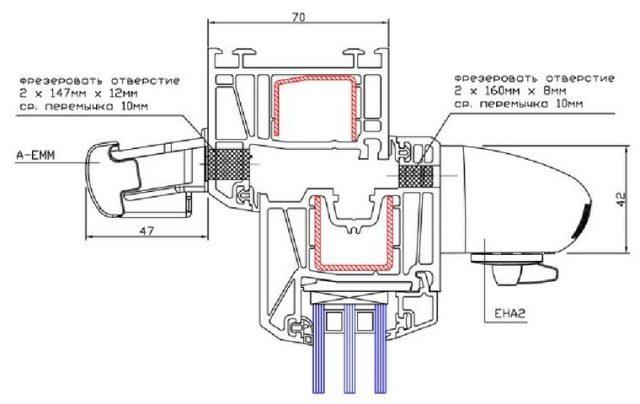 Встроенный клапан вентиляции в оконный блок - схема монтажа