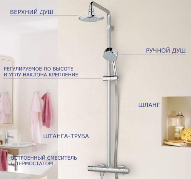 душевая стойка с душем