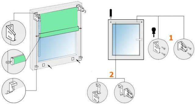 монтаж рулонных штор с направляющими на окно