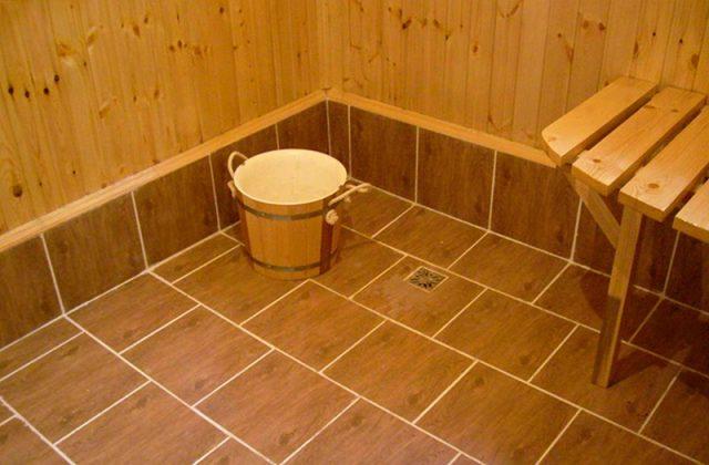Устройство помывочной в деревянной бане